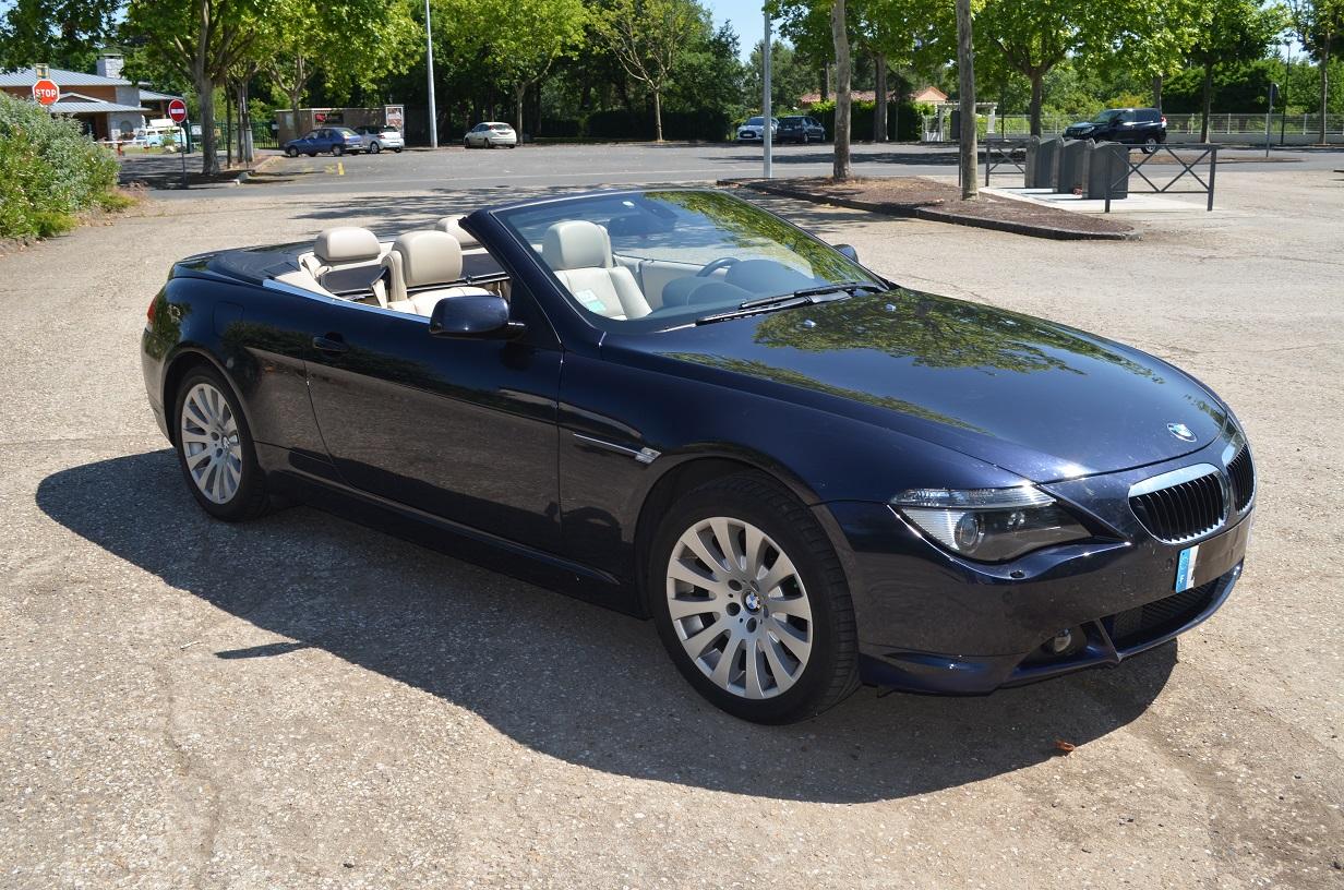 BMW 630i cabriolet, côté conducteur, capote ouverte